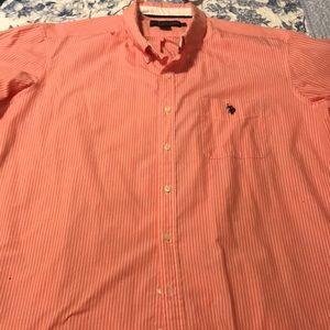 US polo ass.Short sleeve pin stripe buttondown XXL